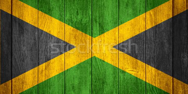 Zászló Jamaica szalag fából készült textúra háttér Stock fotó © MiroNovak