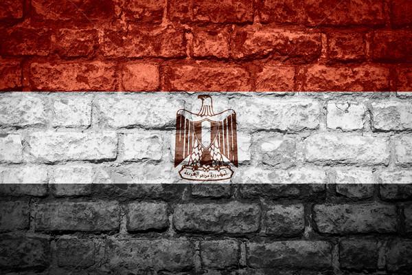 Zászló Egyiptom egyiptomi szalag tégla textúra Stock fotó © MiroNovak