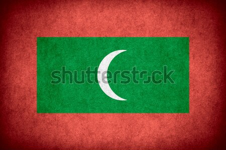 флаг Мальдивы баннер бумаги грубо шаблон Сток-фото © MiroNovak