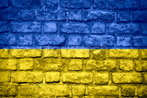 флаг Украина баннер кирпичных текстуры Сток-фото © MiroNovak