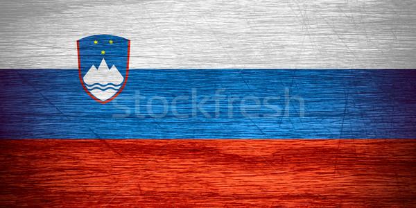 Zászló Szlovénia szalag fából készült textúra Stock fotó © MiroNovak