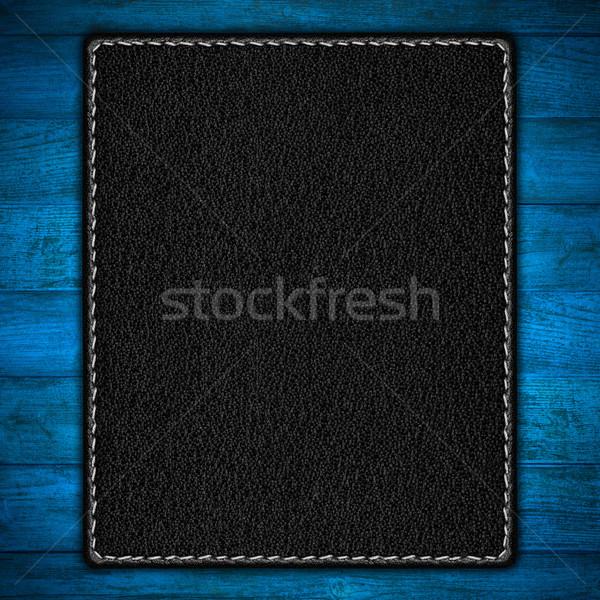 Fekete bőr kék fából készült palánk textúra Stock fotó © MiroNovak