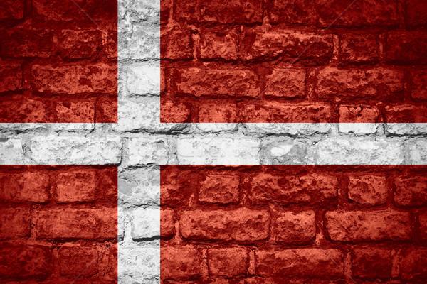 Bandera Dinamarca banner ladrillo textura Foto stock © MiroNovak