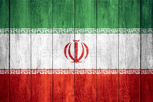 Bayrak İran İran afiş ahşap doku Stok fotoğraf © MiroNovak