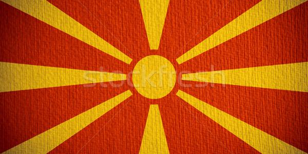 Zászló Macedónia szalag papír textúra Stock fotó © MiroNovak