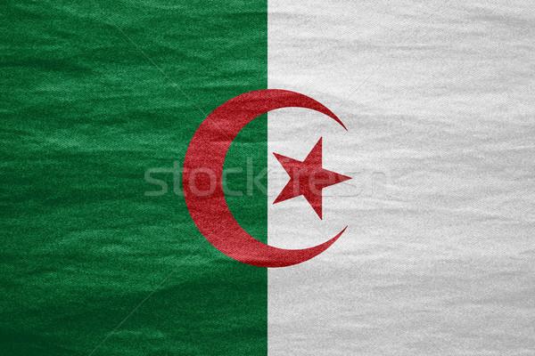 флаг Алжир баннер холст текстуры фон Сток-фото © MiroNovak