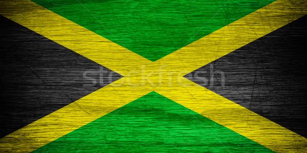 Jamaika bayrak afiş ahşap doku Stok fotoğraf © MiroNovak