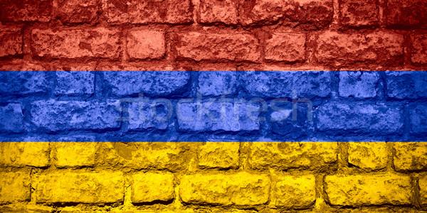 フラグ アルメニア バナー レンガ テクスチャ ストックフォト © MiroNovak