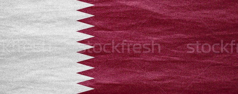 Bayrak Katar afiş tuval doku arka plan Stok fotoğraf © MiroNovak