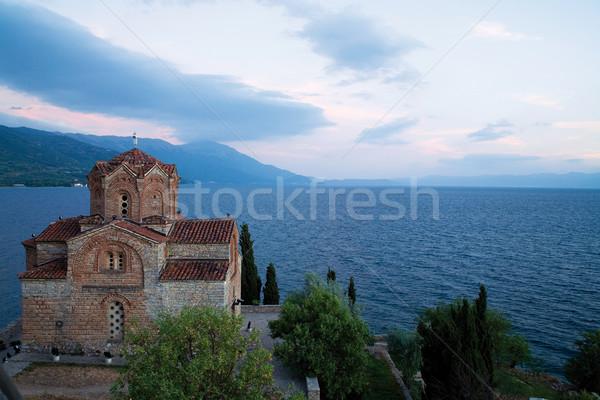 Ortodoxo igreja lago Macedónia europa pôr do sol Foto stock © MiroNovak