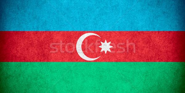Zászló Azerbajdzsán szalag papír durva minta Stock fotó © MiroNovak