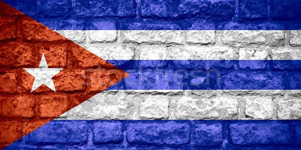 Banderą Kuba kubańczyk banner cegły tekstury Zdjęcia stock © MiroNovak