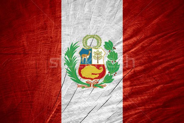 Zászló Peru szalag fából készült textúra Stock fotó © MiroNovak