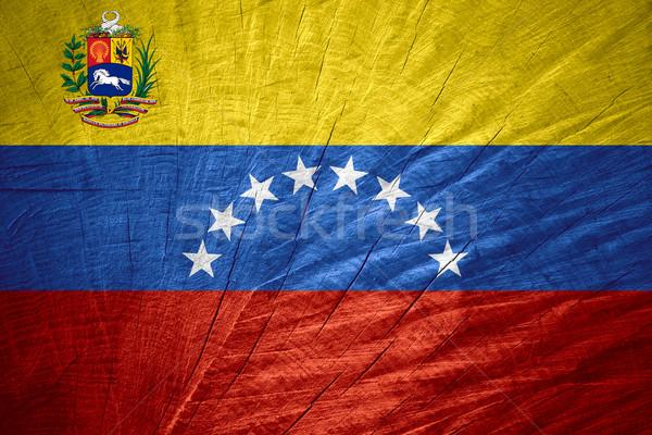 Zászló Venezuela szalag fából készült textúra Stock fotó © MiroNovak