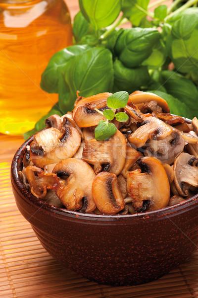 Champignon kahverengi yemek otlar mutfak Stok fotoğraf © MiroNovak