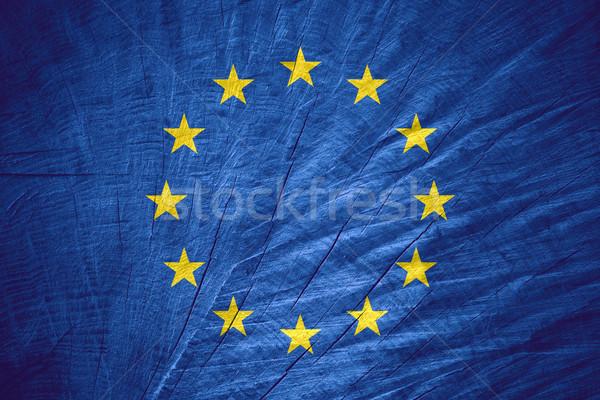 Zászló európai szövetség Európa szalag fából készült Stock fotó © MiroNovak
