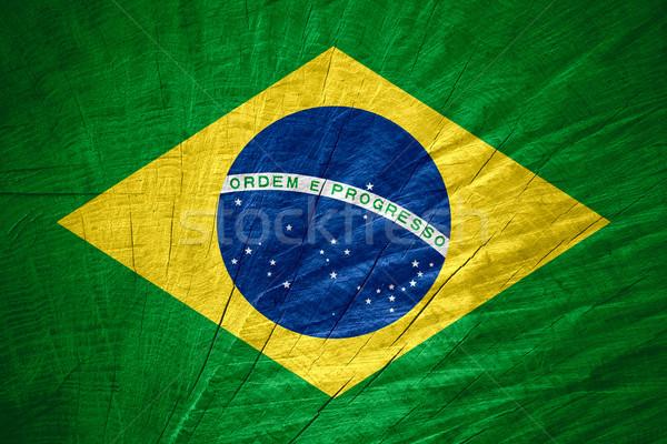 Bayrak Brezilya afiş ahşap doku Stok fotoğraf © MiroNovak