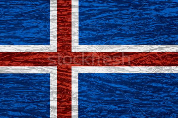 Vlag IJsland banner doek textuur Stockfoto © MiroNovak