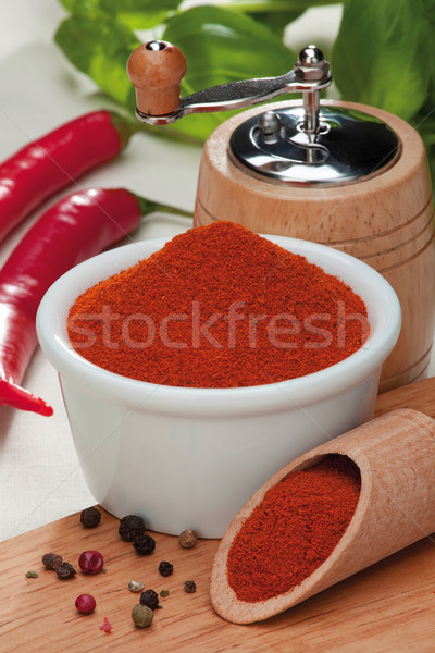 Chili peper Rood poeder korrelig kleur Stockfoto © MiroNovak