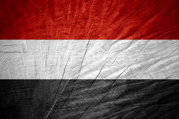 Zászló Jemen szalag fából készült textúra Stock fotó © MiroNovak