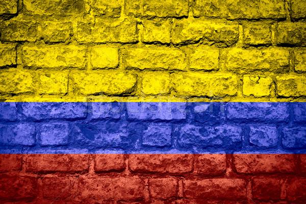 Zászló Colombia szalag tégla textúra Stock fotó © MiroNovak