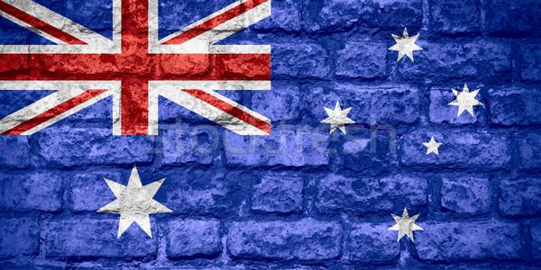 Stockfoto: Vlag · Australië · australisch · banner · baksteen · textuur