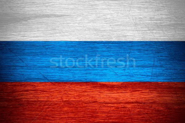 Zászló Oroszország orosz szalag fából készült textúra Stock fotó © MiroNovak