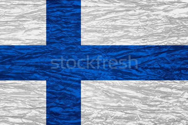 Zászló Finnország szalag vászon textúra Stock fotó © MiroNovak