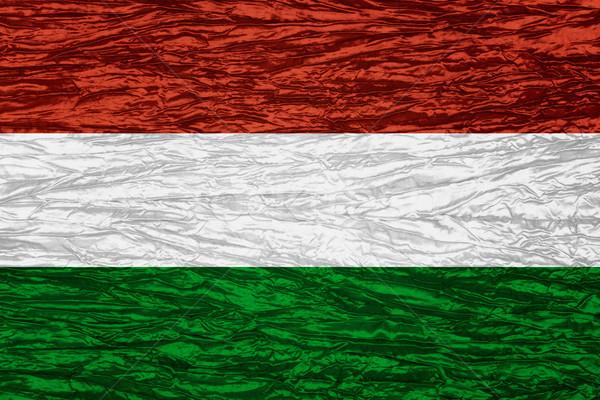 Zászló Magyarország magyar szalag vászon textúra Stock fotó © MiroNovak