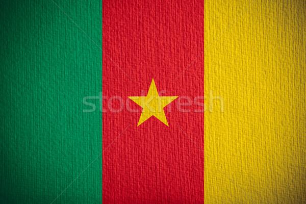 Zászló Kamerun szalag papír textúra Stock fotó © MiroNovak