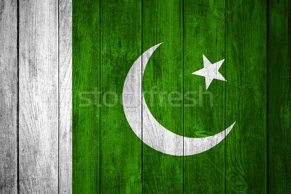 флаг Пакистан синий белый зеленый пакистанский Сток-фото © MiroNovak