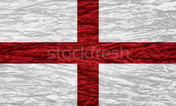 Bayrak İngiltere İngilizce afiş tuval doku Stok fotoğraf © MiroNovak
