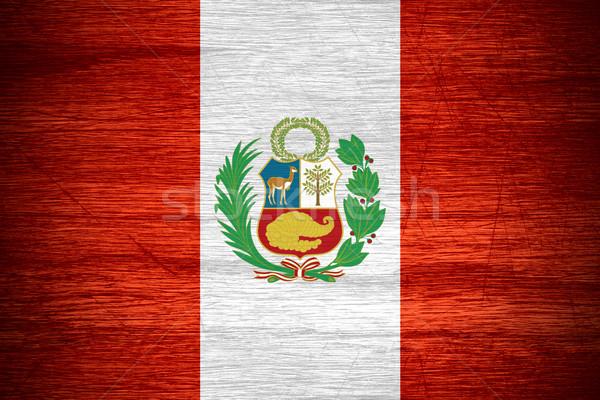 Stockfoto: Peru · vlag · banner · houten · textuur