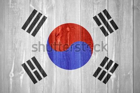 Zászló Dél-Korea szalag absztrakt textúra Stock fotó © MiroNovak