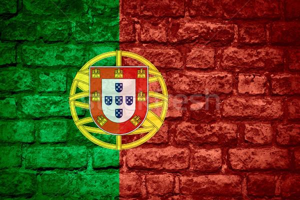 Bandiera Portogallo banner mattone texture Foto d'archivio © MiroNovak