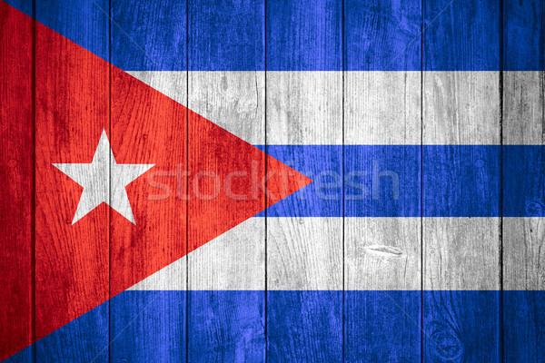 Zászló Kuba kubai szalag fából készült textúra Stock fotó © MiroNovak