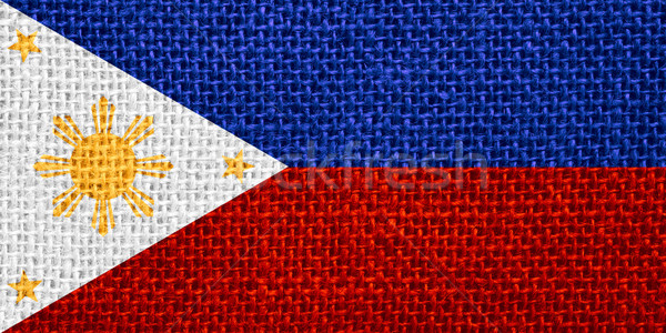 Zászló Fülöp-szigetek szalag vászon textúra Stock fotó © MiroNovak