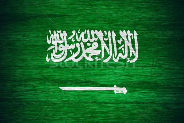 Szaúd-Arábia zászló szalag fából készült textúra Stock fotó © MiroNovak