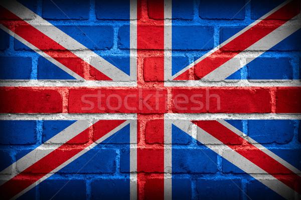 Royaume-Uni pavillon grande-bretagne bannière mur de briques mur Photo stock © MiroNovak