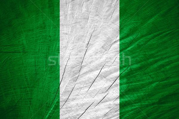 Zászló Nigéria szalag fából készült textúra Stock fotó © MiroNovak