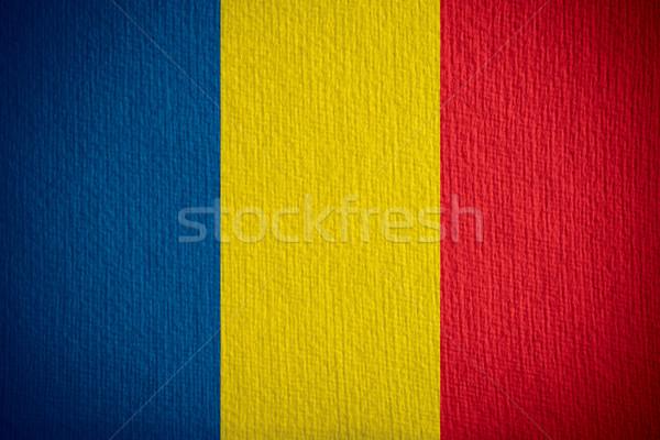 Bayrak Romanya afiş kâğıt Stok fotoğraf © MiroNovak