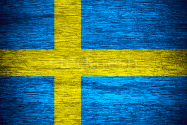 Bayrak İsveç afiş ahşap doku Stok fotoğraf © MiroNovak