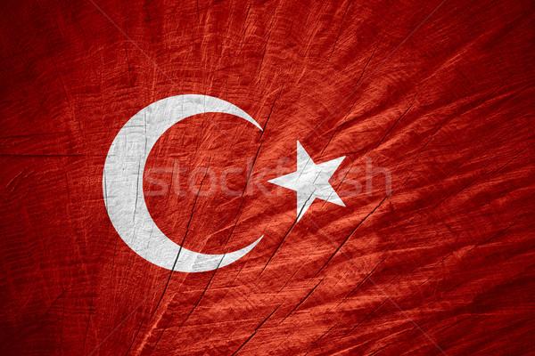 Zászló Törökország török szalag fából készült textúra Stock fotó © MiroNovak