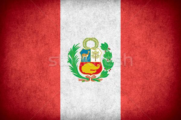Banderą Peru banner papieru szorstki wzór Zdjęcia stock © MiroNovak