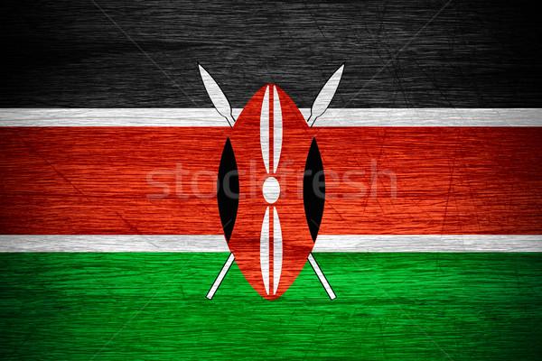 Zászló Kenya szalag fából készült textúra Stock fotó © MiroNovak