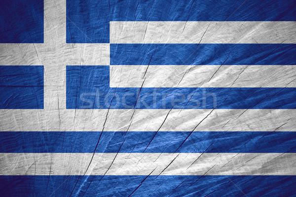 Foto d'archivio: Bandiera · Grecia · greco · banner · legno · texture