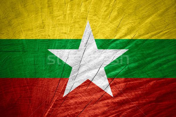 Vlag birma banner houten textuur Stockfoto © MiroNovak