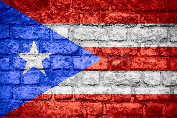 Vlag Puerto Rico banner baksteen textuur Stockfoto © MiroNovak