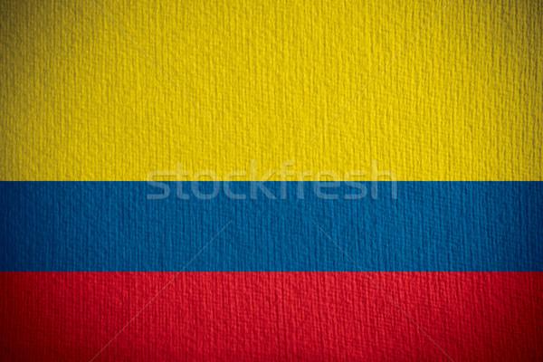 Zászló Colombia szalag papír textúra Stock fotó © MiroNovak