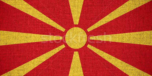 Zászló Macedónia szalag vászon textúra háttér Stock fotó © MiroNovak